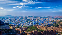 (Voyages Lambert) Tags: banner travel tourism residentialbuilding lookingatview placard headingtheball scenics history blue ancient old famousplace architecture traveldestinations outdoors panoramic aerialview highangleview jodhpur rajasthan day house fort cityscape mehrangarh mehrangarhfort letterbox