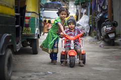 Cycle Coach... (Boodesh Ganeshkumar) Tags: cycle coach girl boy street kids teaching practice learning teacher student india tradition culture