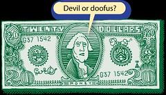 Devil or Doofus? (Don Moyer) Tags: money ink drawing notebook moyer donmoyer brushpen twenty