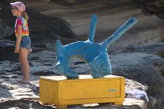 Yellow and blue (Alex Lyne VIC) (Val in Sydney) Tags: blue sea sculpture alex yellow australia vic lyne australie tamarama sxsbondi