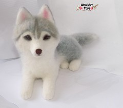 Siberian Husky - Artist Needle Felted Dog Sculpture - Dog Portrait - Sculpture of your pet (WoolArtToys) Tags: portrait sculpture dog pet art dogs animal felted toys grey miniature stuffed husky wolf soft arctic replica needle siberian collectibles realistic