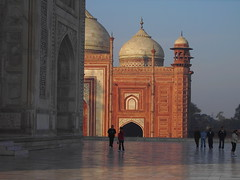 Agra. The Taj Mahal. A Moghul tomb completed in 1653. Marble inlaid with semi precious stones.