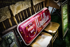 Beauty takes a seat (13skies) Tags: old light red money reflection eye beauty grass sign bar walking mirror see chairs time makeup special nostalgia rest antiques fleamarket oldsign buying maybelline advertise eyebeautybar
