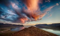 Icelandic Summer Night (Kristinn R.) Tags: sea sky clouds sunrise iceland nikon dýrafjörður nikonphotography sandafell nikond700 kristinnr