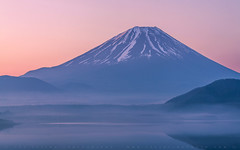 Morning Motosuko and Mt Fuji (lestaylorphoto) Tags: morning travel mist mountain lake reflection water japan fog sunrise 50mm volcano nikon fuji leslie taylor    mtfuji motosu d610 motosuko