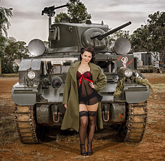 Fighter Femmes 2017 - Taylah and the Tank (Jim Verbz) Tags: lighting portrait woman black hot sexy green classic girl beautiful up museum lady female vintage pose hair army high model glamour uniform pretty pin fighter tank gorgeous military coat femme posing babe lingerie stuart retro trench stunning heels vehicle adelaide casual stocking brunette m3 themed graceful modelling pinup strobe camisole