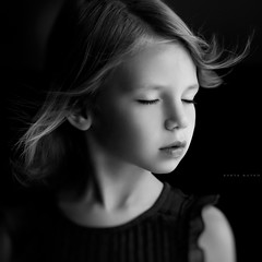 Breath (sveta_butko) Tags: portrait white black girl face childhood hair child wind