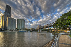 Bridge Finale 2. (gecko47) Tags: architecture clouds landscape construction cityscape waterfront sundown riverside dusk brisbane highrise infrastructure cbd riverbank brisbaneriver mangotree ll hdr storybridge settingsun walkingpath kangaroopoint captainburkepark 5image