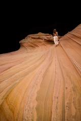 Into the Dark (Blue Falcon Foto) Tags: coyote arizona woman white utah sandstone dress stripes north wave topless blm buttes