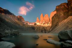 Majestic Sunrise (  (Ping...) Tags: patagonia mountain lake sunrise landscape rocks colorful ngc torresdelpaine dramaticsky extremeterrain patagoniachile