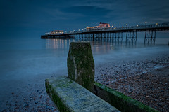 Worthing Pier Just After Sunset (Dave Sexton) Tags: blue england seaweed west water reflections ed sussex pier worthing pentax unitedkingdom d calm hour sdm gb hd groyne f28 fa wr k1 2470mm