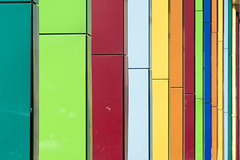 Colored pillars (on Explore) (Jan van der Wolf) Tags: abstract colors lines amsterdam architecture composition colours columns perspective arena repetition rhythm architectuur lijnen pilaren perspectief compositie herhaling ritme map15170v