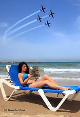 68th Year of The State of Israel's Independence (Y Ruas) Tags: ocean hot sexy beach magazine team force display smoke air bikini raytheon israeli idf texan t6 iaf israeliairforce