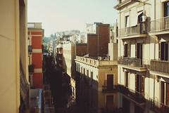When the sun goes up (Raquel Malln) Tags: barcelona street city sky brown sunlight buildings skyscape 50mm spain arquitectura focus sunny portfolio tones portbox