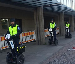 #robocop's Helsinki #police can't #cycle (sampoky) Tags: square helsinki opera police squareformat segway iphoneography instagramapp uploaded:by=instagram