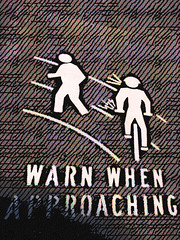 Warn When Approaching (Steve Taylor (Photography)) Tags: newzealand white art texture bike bicycle sign digital warning fun stencil bell path nelson ring walker cycle lane nz southisland shout warnwhenapproaching