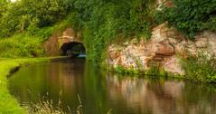 Dunsely Tunnel ......Record Breaker (williamrandle) Tags: summer green water reflections landscape canal nikon sandstone outdoor walk tunnel serene staffordshire waterways kinver stourton 2016 staffordshireworcestershirecanal d7100 tamron2470f28vc shortesttunnel dudselytunnel oldesttunnel