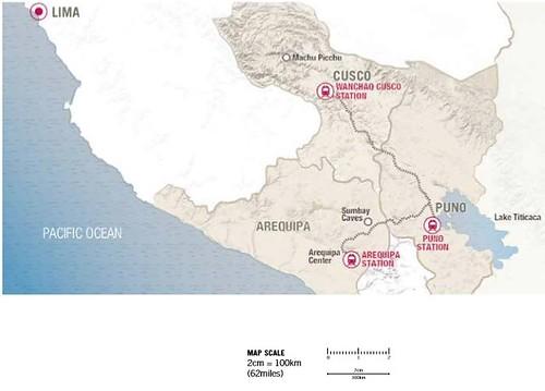Belmond Andean Explorer map