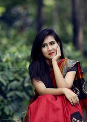 Farha (Safaria Suhas) Tags: red portrait people cute green girl canon vintage daylight outdoor sari bangladesh cutegirl suhas safaria
