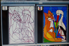 Stained Glass: Fox and Stork Fable (ArneKaiser) Tags: 2ndgrade foxandstork leadedglass projects waldorf art crafts design fable stainedglass flickr