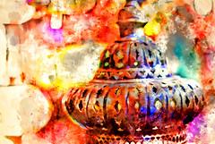 Luminous - watercolour edition (saharsh) Tags: color colour art colors painting vibrant muslim uae eid east arab lantern middle ramadan