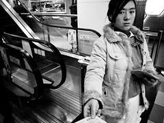 mall girl (-{ ThusOriginal }-) Tags: 2009 bw blackandwhite china city digital grd3 grdiii monochrome people ricoh shanghai street thusihaveseen winter