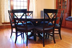 "65"" Round Harmony (Brian's Furniture) Tags: 65 round single pedestal table dining room waterfall edge solid top 6 chairs sides fabric upholstered seat greenhouse 95372 blue plaid bench cushion hard rock maple onyx stain hardwood custom made american brians furniture westlake ohio po6416683"