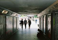 Bear Pit South Tunnel (joshuacolephoto) Tags: nikon fe2 nikonfe2 fuji 400h pto film 135 35mm bristol bearpit bear pit street photography streetphotography england silhouette backlit city urban leadinglines colour jcm contrast walk dayoff