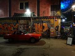 Rot SL Klasse (michele.tedesco) Tags: mercedesbenz sl slklasse red berlin berlino germany germania eastside berlinoest waterfront klub clubbing night nightshot sony deutsch deutschland vintage colours streetart