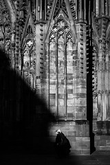 Strasbourg 033 (arsamie) Tags: strasbourg cathedral france church religion faith black white statue shadow light sunset elder people street alsace