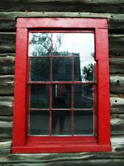 12 (Siiri Gael) Tags: window art red pane glass building wood