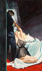 Hell Cat, paperback cover by Harry Barton, 1959 (Tom Simpson) Tags: harrybarton illustration pulp pulpart crime mystery vintage woman boobs sexy dame art painting hellcat paperback cover 1959 1950s lingerie negligee