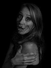Eleonora (Francesco _boro. Meroni) Tags: portrait bw white black canon studio darkness fear tamron f28 strobe 600d 2874 lampista strobist
