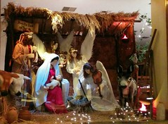 Crib at Damian .. (Ryan Lemos) Tags: christmas baby india window statue joseph catholic display jesus bombay crib manger mumbai windowdisplay damian bandra mothermary hillroad