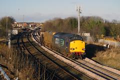 2014-12-24 @ Seaham: 6E44 0740 Carlisle Kingmoor Sidings-Seaton-on-Tees: Class 37/6 no. 37605 Class 20/3 no. 20309 [PK525954] (graeme9022) Tags: uk blue england 3 tractor station electric train 1 coast chopper durham diesel north bobo rail railway east route coco type british locomotive 20 37 railways freight compass services direct livery drs railfreight