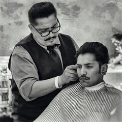 Lady In Waiting (Culture Shlock) Tags: street people haircut men earings groom style grooming barbershop barber mustache haircuts earing musttaches