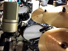 Recording my drums (David Lee King) Tags: drums drum tama microphone mic cymbal condenser mxr paiste