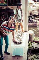 Snakes on stage (robertofaccenda.it) Tags: trip travel vacation thailand los asia market bangkok mercado marketplace siam mercato thailandia viaggi holydays bkk floatingmarket vacanze damnoensaduak mercatino krungthep sudestasiatico asiansoutheast cittdegliangeli