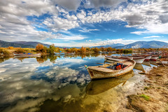 Canal reflections (Nejdet Duzen) Tags: trip travel reflection nature turkey boat fishing cloudy türkiye sandal yansıma turkei seyahat aydın doğa söke balıkçılık bulutlu bafagölü bafalake serçinköyü serçinvillage