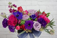 IMG_9359 (Garden Party Flowers) Tags: pink flowers red love vancouver purple valentine anemone romantic florist eucalyptus delphinium valentinesday jeweltones pinkandpurple gardenpartyflowers