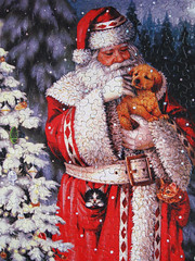 """""""Warm Winter Cuddle""""  Happy Boxing Day! (Puzzler4879) Tags: santa christmas art puppies kittens puzzles puzzling jigsaws christmasart jigsawpuzzles a590is canona590is canonpowershota590is powershota590is lizgoodrickdillon warmwintercuddle"""