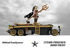 Steampunk Steam-Powered Road-Yacht (Mikhail Smolyanov - 2014) (lego911) Tags: auto road car model lego cosplay yacht render steam figure scifi land figurine universe neptune 86 challenge cad lugnuts powered mikhail povray steampunk trident moc ldd miniland lego911 smolyanov steampunkmotorworks