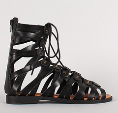 "lace up peep toe gladiator flat sandal blk • <a style=""font-size:0.8em;"" href=""http://www.flickr.com/photos/64360322@N06/16163963088/"" target=""_blank"">View on Flickr</a>"