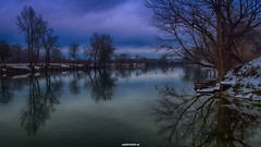 The serenity of the river (malioli) Tags: blue winter snow tree nature water canon river landscape photography photo europe image pics picture croatia bluehour cro hrvatska waterscape karlovac korana serenty
