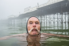 Dave swimming in a misty sea (lomokev) Tags: portrait man male sport swimming swim person pier brighton olympus moustache human swimmers omd brightonpier palacepier superdave em5 davesawyers olympusomd olympusomdem5 file:name=160511omdem55110295 roll:name=160511omdem5