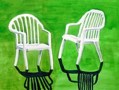 Two white chairs, wd, by hj - DSC03053 (Dona Mincia) Tags: shadow 2 two white verde green art grass watercolor painting paper chair arte sombra study grama pintura duas aquarela cadeirabranca