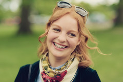 Candid Smile (Stuart Mac) Tags: woman london smile face look hair 50mm eyes dof bokeh candid teeth redhead d750