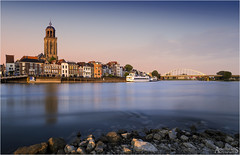 Deventer Golden Hour (AdelheidS photography (at work in Norway now)) Tags: city longexposure bridge sunset holland water netherlands skyline river wilhelminabrug cityscape waterfront nederland le riverfront deventer ijssel goldenhour hanseatic paisesbajos canoneos6d adelheidspictures adelheidsmitt adelheidsphotography