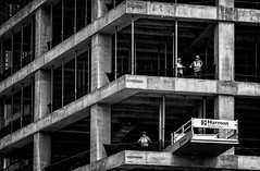 Construction downtown Oklahoma City (Inge Vautrin Photography) Tags: new people blackandwhite bw building men oklahoma monochrome lines architecture person construction downtown working streetphotography constructionworkers ok newbuilding oklahomacity