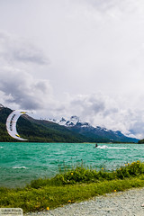 Kitesurfing in Switzerland (creativeway.ch) Tags: panorama lake kite mountains clouds switzerland surf kiteboarding kitesurfing mountainlake kitesurf core engadin silvaplana